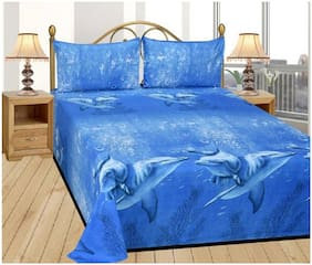 Kihome Microfiber Beautiful Print 1 Double Bedsheet, 2 Pillow Covers-ShakFish