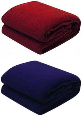 Kihome Plain Fleece 2 Pcs. Double Blankets-Maroon,Navy