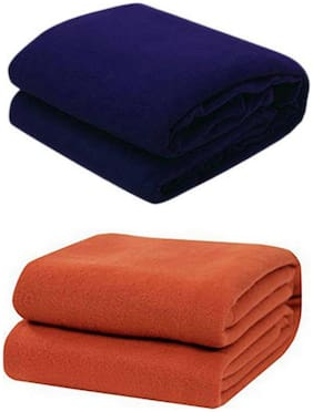 Kihome Plain Fleece 2 pcs Double Blankets-Navy,Rust