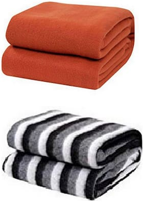 Kihome Plain Fleece 2 Pcs. Double Blankets-Rust,Black