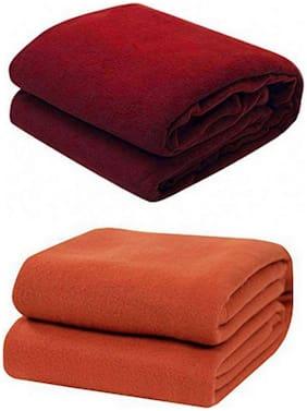 Kihome Polar Fleece 2 pcs Single AC Blankets-Maroon;Rust