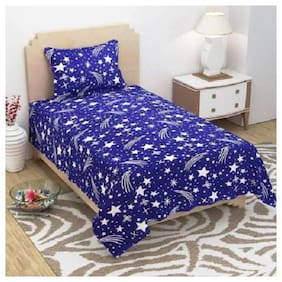 KIHOME Microfiber Printed Single Size Bedsheet 144 TC ( 1 Bedsheet With 1 Pillow Covers , Blue )
