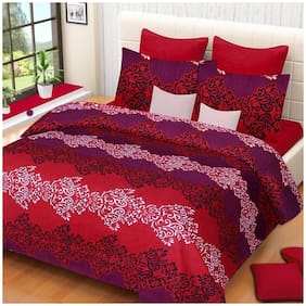 Kihome Printed Beautiful Color Red Leaf 1 Double Bed-sheet with 2 Pillow Covers