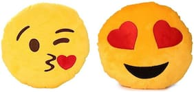 Kihome Smiley Printed Decorative Cushion Set of 2  (Yellow)
