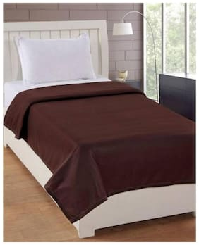 Kihome Soft Plain Fleece Single Bed Blanket-Coffee