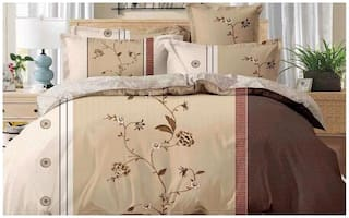 Gifty Microfiber Floral King Size Bedsheet 220 TC ( 1 Bedsheet With 2 Pillow Covers , Brown )