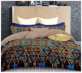 Gifty Microfiber Checkered King Size Bedsheet 180 TC ( 1 Bedsheet With 2 Pillow Covers , Blue )