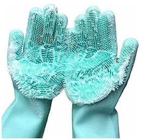 Kipsmarts Silicone Non-Slip;Dishwashing and Pet Grooming;Magic Latex Scrubbing Gloves for Household Cleaning Great for Protecting Hands