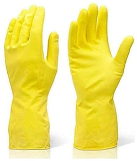 Kitchen And Garden Reusable Rubber Stretchable Hand Gloves For Washing Cleaning (1 Pair) Yellow