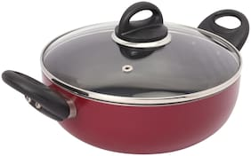 Kitchen Chef Imperial Premium Deep Non Stick Induction Bottom Kadhai For Cooking Kadai Suace Pan With Glass Lid