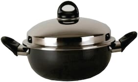Kitchen Chef High Dome Non Stick Kadai For Cooking Suace Pan Stainless Steel Kadai With Lid