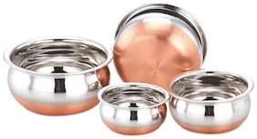 Kitchen & Dining Multi-Purpose Cooking Serving & Food Storage Copper Bottom Stainless Steel Handi Pots Cookware Set