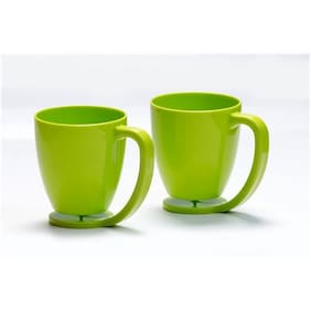 Kitchen Duniya Floating Cups With Inbuilt Coaster  375ml Set of 2