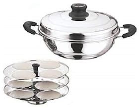 Kitchen Essentials Stainless Steel Multi Purpose Kadai Cum Idli Maker