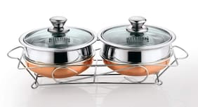 Kitchen Essentials 2 pcs. Coppert Botom Cook and Serve Set 14+14 cm with Glass Lid+Serving Stand