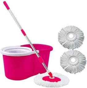 Kitchen India 1 Mop set With Free 2 Pcs Microfiber Refill (Pink)