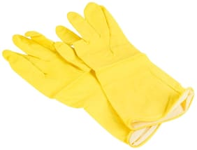 Kitchen ,Waterproof Household Glove, Warm Dishwashing Glove, Water Dust Stop Cleaning Rubber Gloves-Yellow Color-1 Pair Wet and Dry Glove