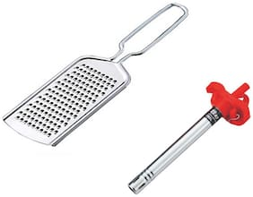 Kitchen4U Stainless steel Silver & Red Kitchen Tool Combos ( Set of 2 )