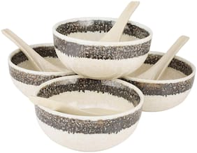 Kittens Glossy Pearl Ceramic Soup Bowl With Spoon