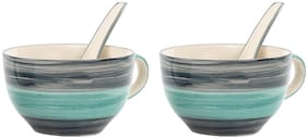 Kittens Handpainted Sea Soup Bowl With Spoon
