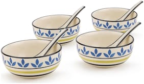 Kittens Handpainted Leafstripe Pattern Ceramic Soup Bowls With Matching Spoons