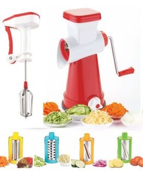 KKart Multi-Functional 4 in 1 Vegetable Cutter Slicer Cheese Shredder, Speedy Rotary Drum Grater Slicer-with Power Free Blender(Red)