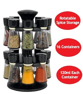 Kkart Black Revolving Spice Rack, 16 Containers