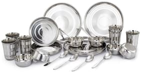 KLASSIC VIMAL Stainless steel Dinner Sets - Set of 30 , Silver