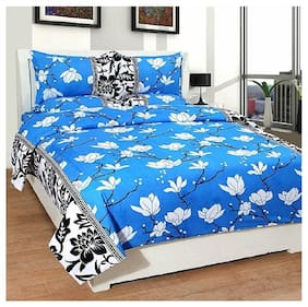 Kohinoor Cotton Printed Double Size Bedsheet 120 TC ( 1 Bedsheet With 2 Pillow Covers , Blue )