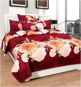 kohinoor  1 Pcs. Soft Cotton Bedsheet & 2 Pillow Covers (90*100 Inch Full size) Brown  color