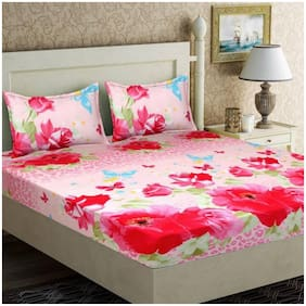 Kohinoor Cotton Printed Double Size Bedsheet 120 TC ( 1 Bedsheet With 2 Pillow Covers , Pink )