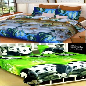 Kohinoor  Specifically Summer Double  Bedsheet 2 .soft cotton bedsheet & With 4  pillow cover (Multicolor)