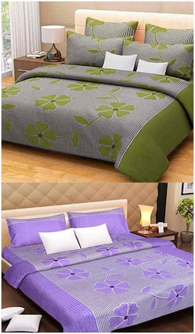 Kohinoor Cotton Printed Double Size Bedsheet 120 TC ( 2 Bedsheet With 4 Pillow Covers , Green & Purple )