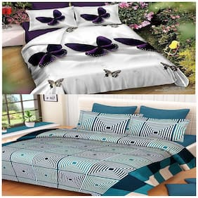 Kohinoor Cotton Printed Double Size Bedsheet 190 TC ( 2 Bedsheet With 4 Pillow Covers , Multi )