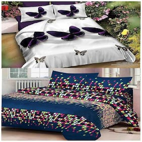Kohinoor Cotton Abstract Double Size Bedsheet Combo ( 2 Bedsheet With 4 Pillow Covers , Multi )