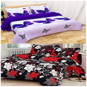 Kohinoor Cotton Printed Double Size Bedsheet 155 TC ( 2 Bedsheet With 4 Pillow Covers , Multi )