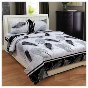 Kohinoor Cotton Printed Double Bedsheet ( 1 Bedsheet with 2 Pillow Covers , Multi )