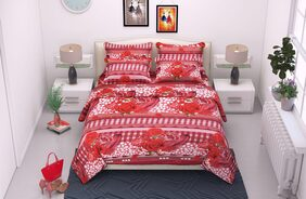 Kohinoor Summer Specially 1 Pcs. Soft Cotton Double Bedsheet & 2  Pillow Covers (90*100 Inch Full size) Multicolor