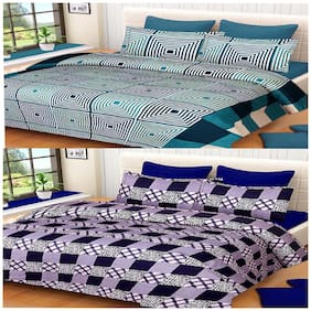 Kohinoor Cotton Printed Double Size Bedsheet 150 TC ( 2 Bedsheet With 4 Pillow Covers , Multi )