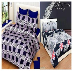 Kohinoor Cotton Printed Double Size Bedsheet 120 TC ( 2 Bedsheet With 4 Pillow Covers , Multi )