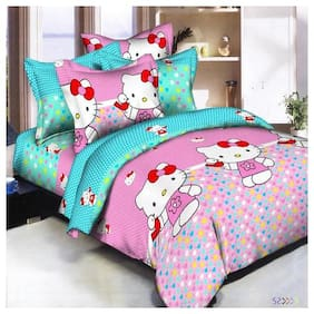 KOHINOOR SUMMER SPECIALLY 1 PCS. SOFT COTTON DOUBLE BEDSHEET & & WITH 2 PILLOW COVER (90*100 INCH FULL SIZE) MULTI