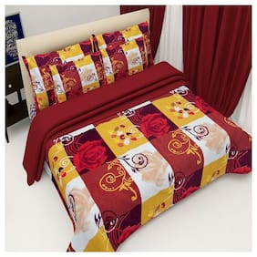Kohinoor Cotton Printed Double Size Bedsheet 120 TC ( 1 Bedsheet With 2 Pillow Covers , Multi )