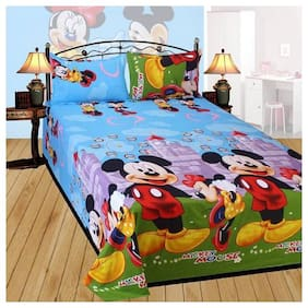 Kohinoor Microfiber Printed Double Size Bedsheet 104 TC ( 1 Bedsheet With 2 Pillow Covers , Multi )