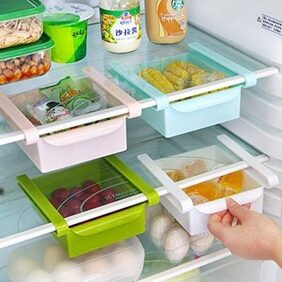 KolorFish Plastic Kitchen Refrigerator Fridge Storage Rack Freezer Shelf Holder Kitchen Dinning Organisanser (Green) [15.5 X 16.5 X 7cm]