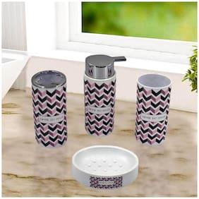 Kookee Acrylic Bathroom Accessories Set of 4 - Soap Dispenser,TB Holder,Soap Dish and Tumbler Set 3316-A