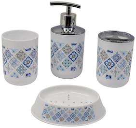 Kookee Acrylic Bathroom Accessories Set of 4 - Soap Dispenser,TB Holder,Soap Dish and Tumbler Set,White/Blue (8027-D)