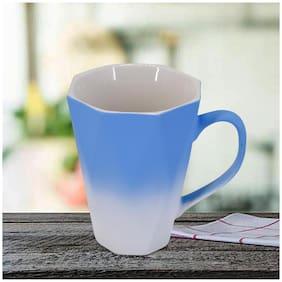 Kookee Ceramic Coffee Mug  Matte Finish  Blue/White Double Shade - 325ml (BPD005) (Set of 2)