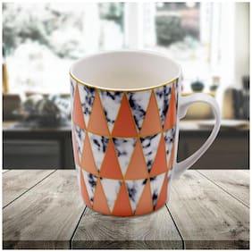 Kookee Ceramic Coffee Mug,Triangle Shape,Orange/White - 325ml (R4760)