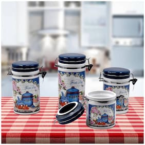 Kookee Ceramic Canister Jars & Containers Set (Pack of 4);(20cm;17cm;14cm;12cm) - Navy Blue (488-G)