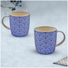 Kookee  Ceramic Coffee or Tea Mug with handle for Office, Home or Gifting - 320ml (3525-E) (Pack of 2)